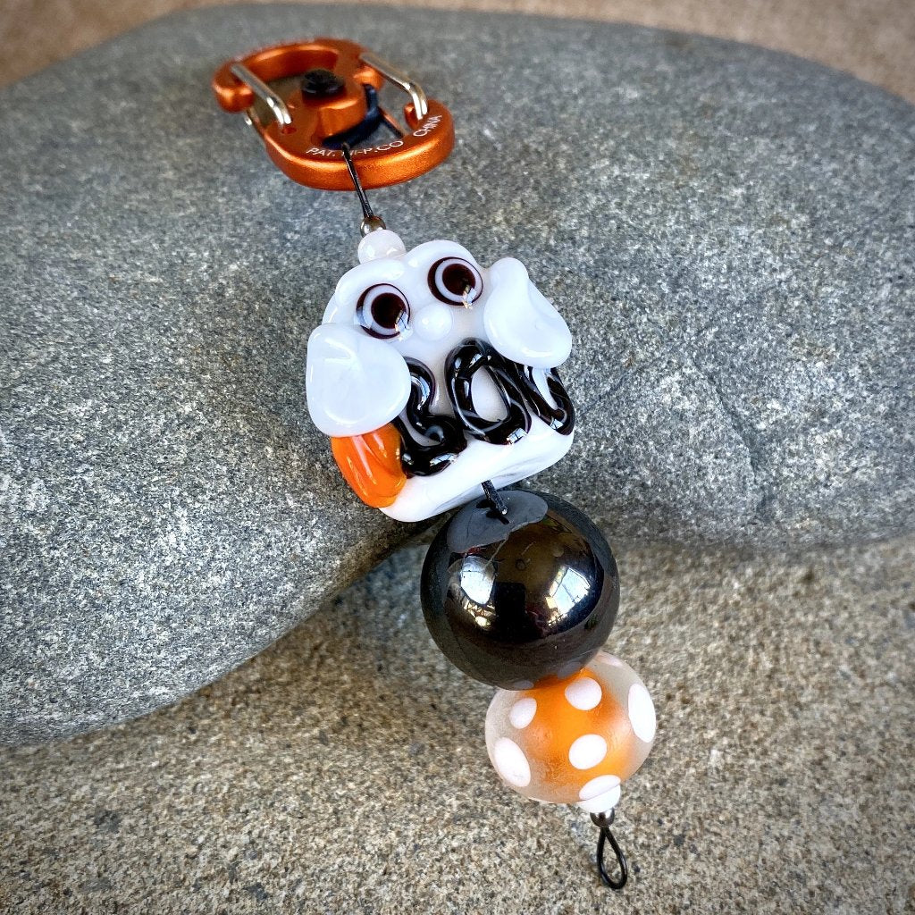 Shungite & Lampwork Glass Halloween Clip-on Decoration, Boo Ghost - Shungite Queen