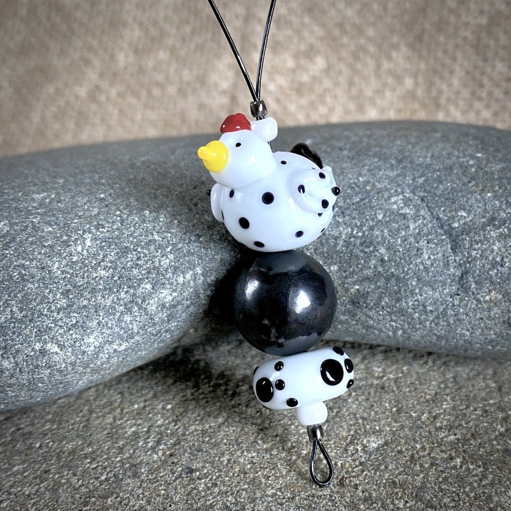 Hangable Shungite Accessory w/Lampwork Glass Chicken, Black & White