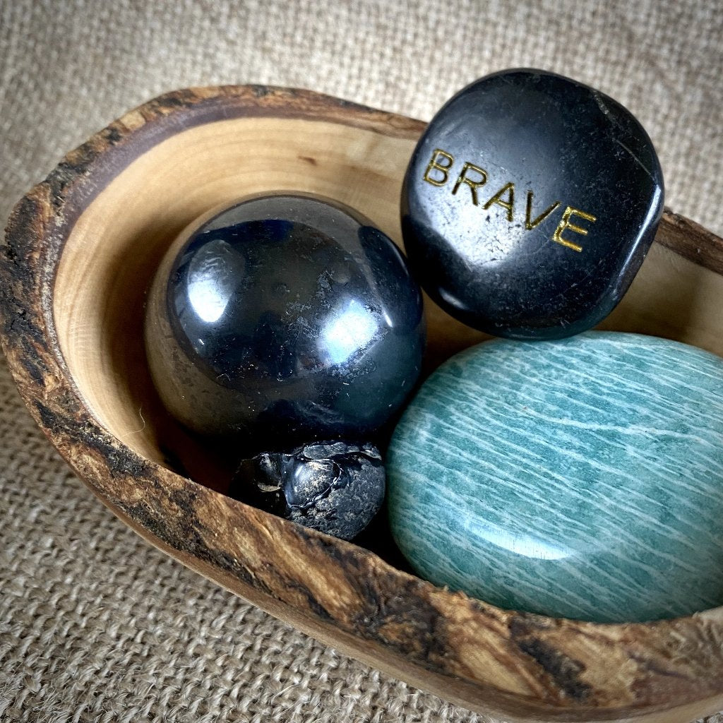 "Shungite, Amazonite, Apache Tear, ""Brave"" Garden, Olive Wood Bowl"