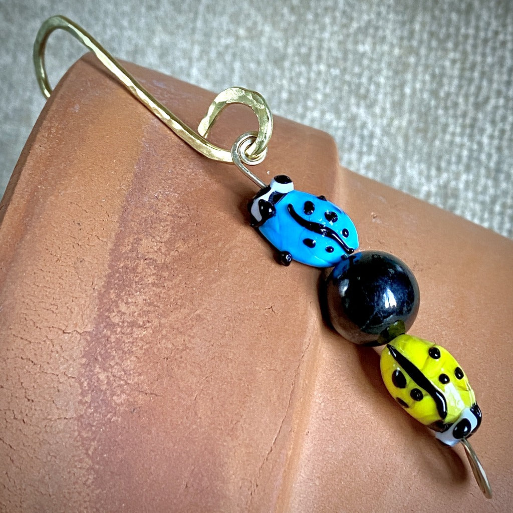 Shungite Bead Garden Dangle, Two Glass Ladybugs, Hammered Brass