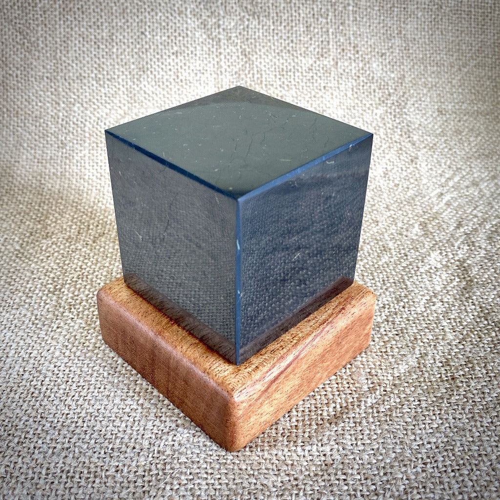 Shungite Cube, 60mm, Custom Mahogany Stand, EMF Protection - Shungite Queen