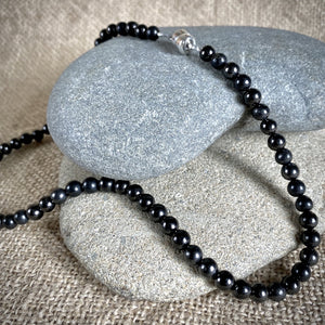 Black Shungite 6mm Round Bead Necklace, 17.5 Inches, EMF Protection