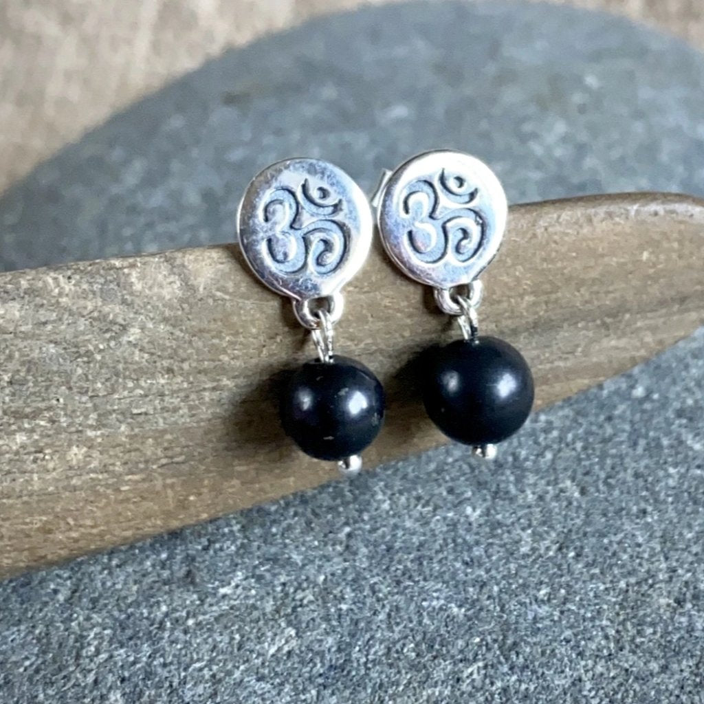 Shungite & Sterling Silver Ohm Post Earrings, EMF Protection - Shungite Queen