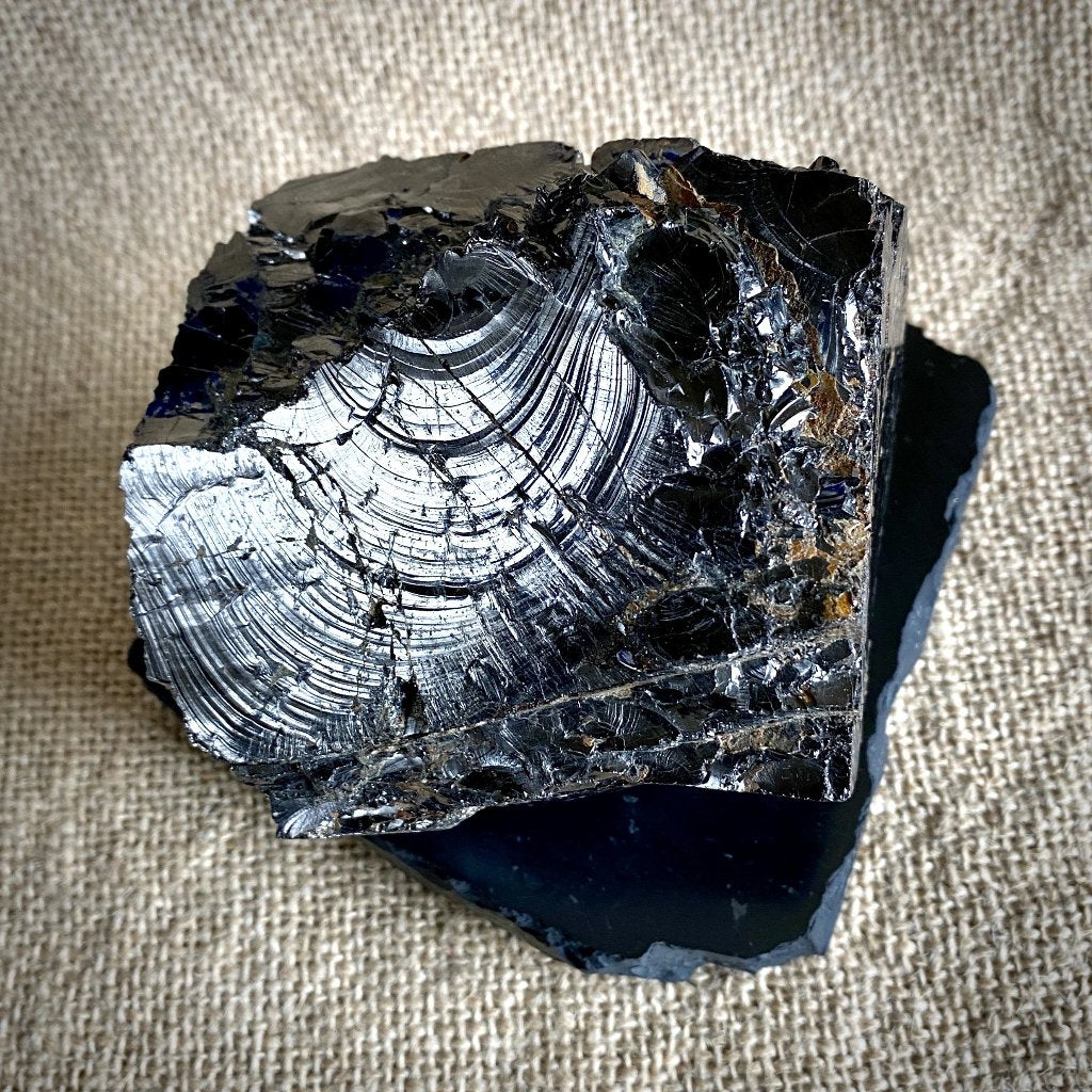 Huge Elite Shungite Nugget, 526g, on Polished Rough Edge Shungite Slab - Shungite Queen