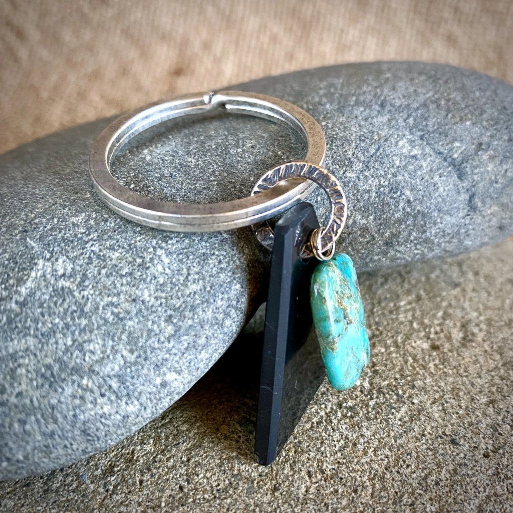 Antique Silver Shungite Keychain, Chrysocolla Bead & Shungite Triangle - Shungite Queen