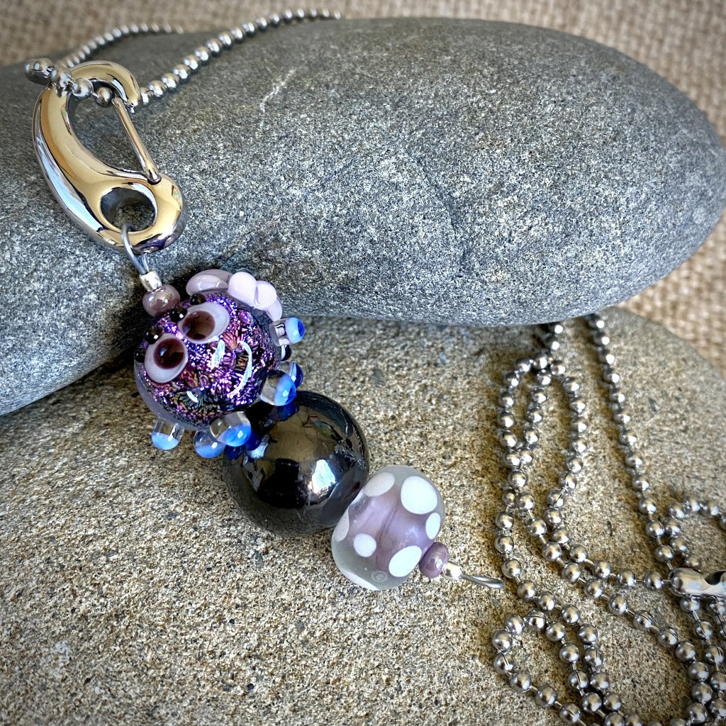 Shungite & Purple Squeedle w/Flowers Necklace & Clip-On, EMF for Kids