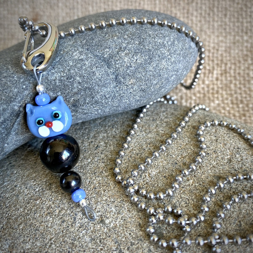 Blue Cat Shungite Necklace on Silver Ball Chain, Clip-On EMF Accessory, Kids