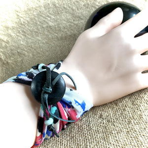 Wide Multicolor Shungite Wrist Band, Deerskin Cording, Amazonite Beads
