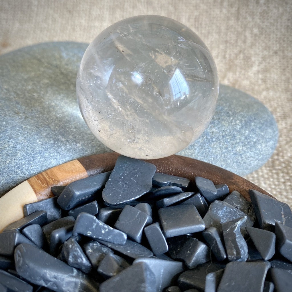 Black Shungite Chip Garden w/Clear Quartz Crystal Ball, Custom Bowl
