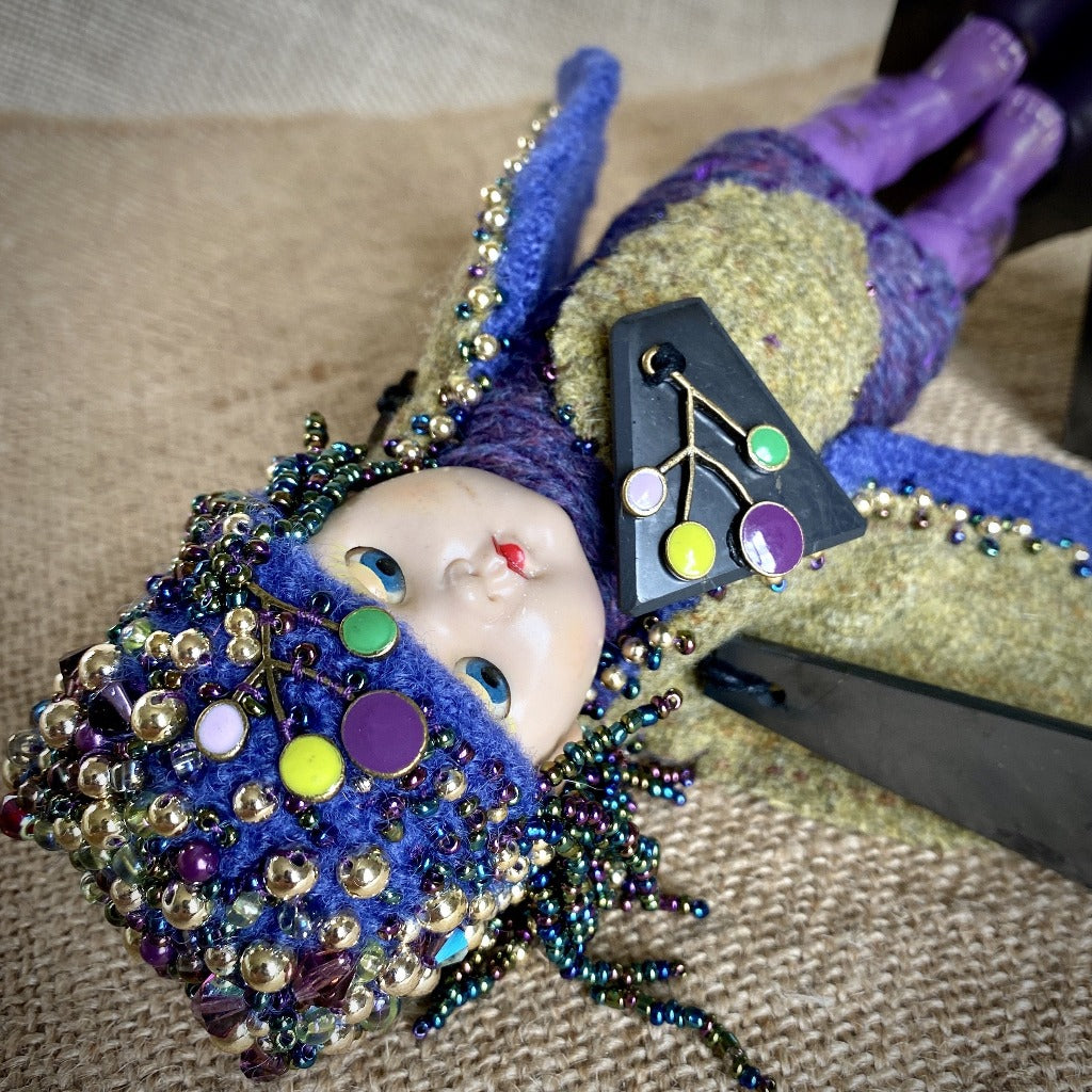 Vintage Shungite Bird Doll, Purple & Blue, Upcycled Wool, Beaded
