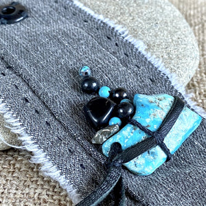 Gray Denim Cuff Bracelet, Shungite, Turquoise, Pyrite, Black Leather