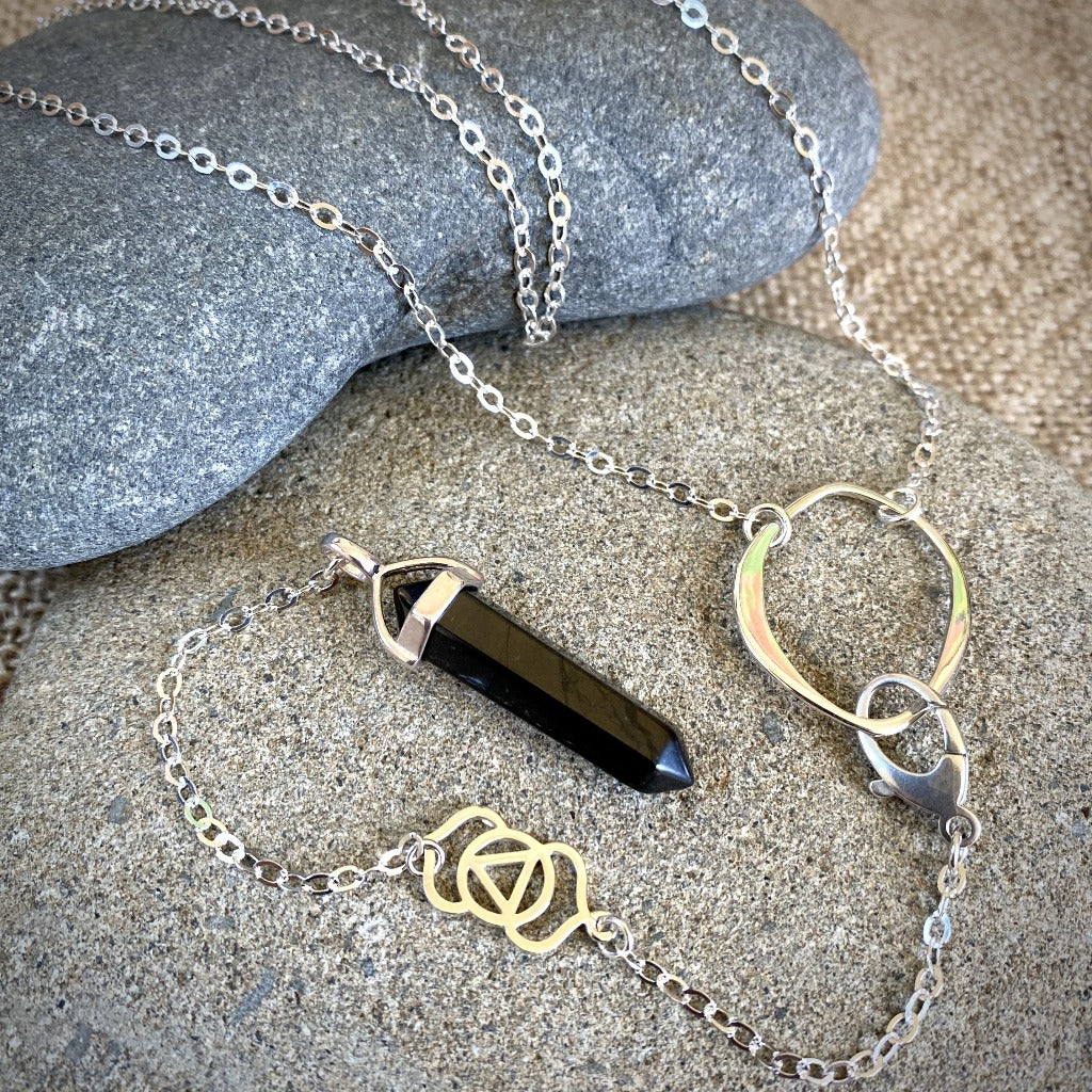 Black Shungite Pendulum, Necklace, Sterling Silver, Third Eye Chakra - Shungite Queen