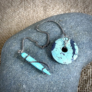 Turquoise Pendulum with Titanium Wire & Blue Stone Donut Grip