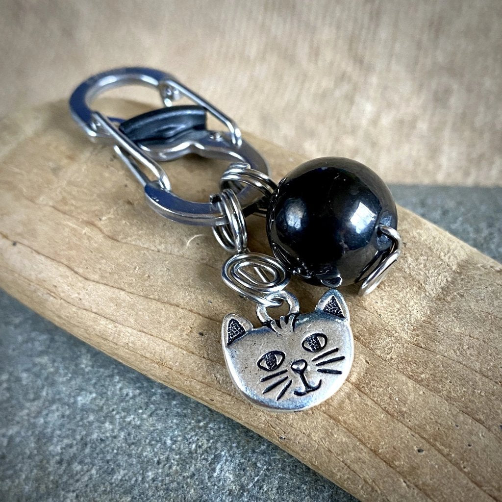 EMF Cat Pendant, Shungite for Cats, Silver Cat Face Charm
