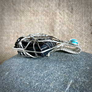 Elite Shungite Pendant, Turquoise, Tree of Life Argentium Silver Setting - Shungite Queen