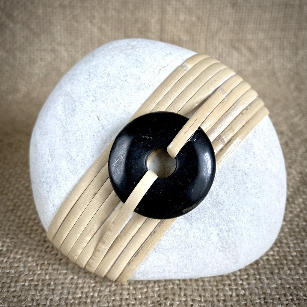 Wrapped Rock, Shungite Donut, Natural Cane, White
