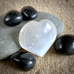 Tumbled Shungite Stones & Selenite Heart in Large Olive Wood Bowl, EMF