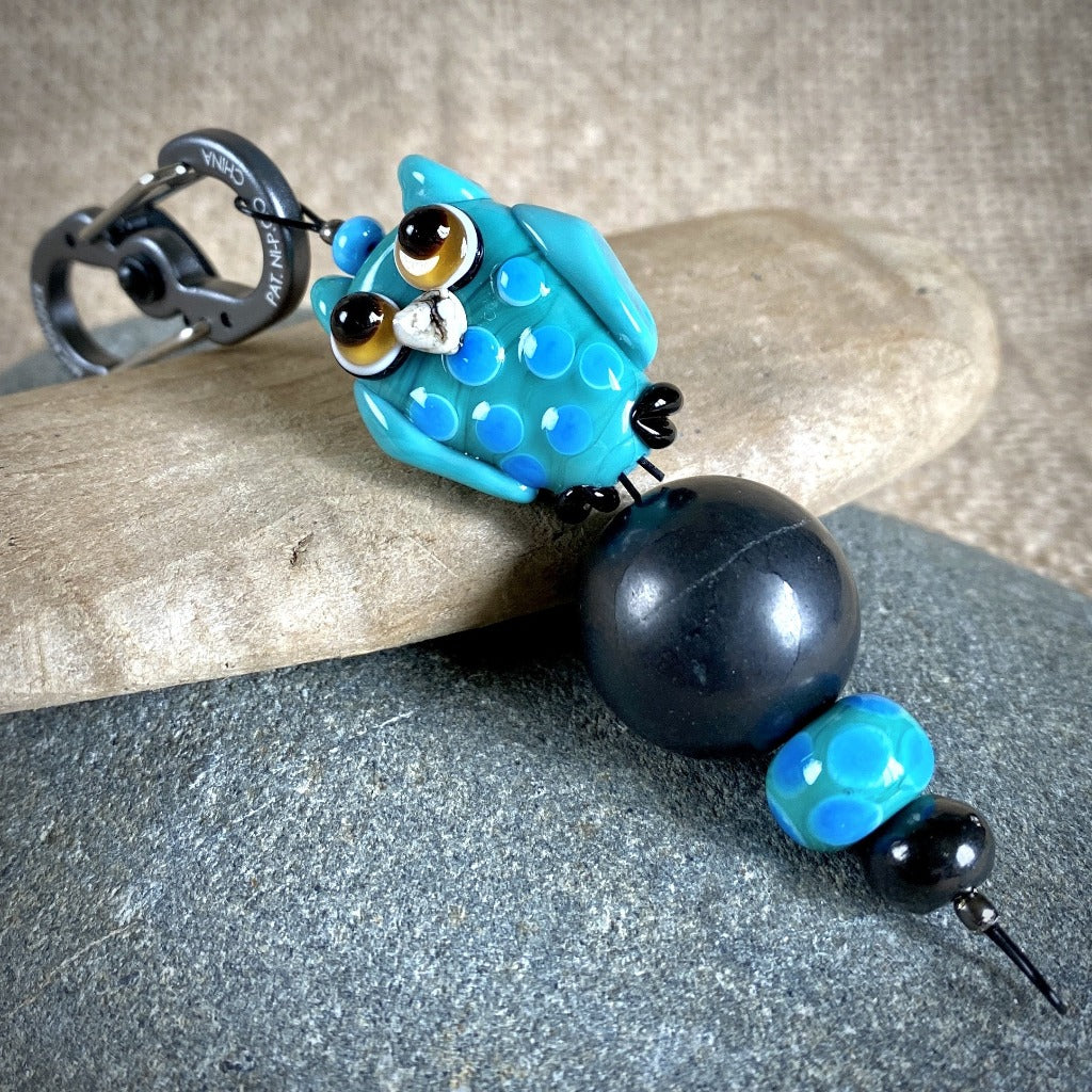 Shungite Owl Clip-on, Turquoise & Blue, Artisan Lampwork Glass Bead - Shungite Queen
