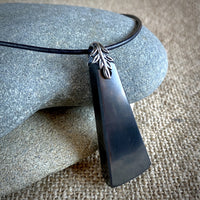 Black Shungite Trapeze Pendant, EMF Necklace, Unisex, Geometric, Silver Bail