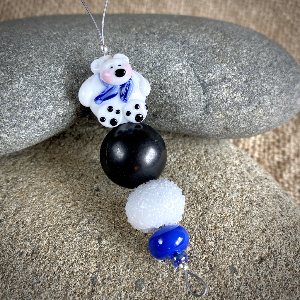Polar Bear Christmas Ornament w/Shungite, Blue Scarf, on Iceberg