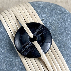 Wrapped Rock, Shungite Donut, Natural Cane, Gray, Flat