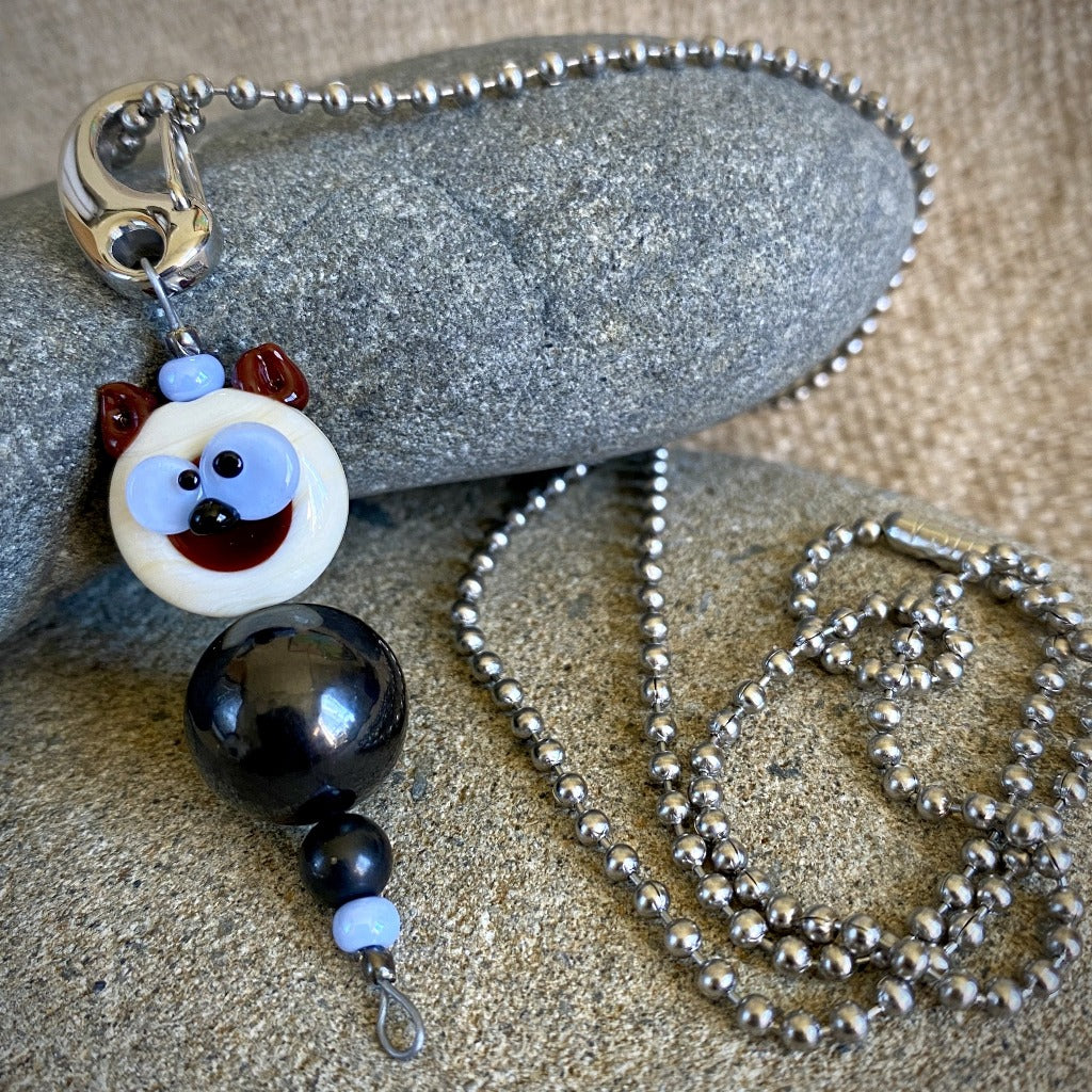Blue-Eyed Brown & White Puppy Shungite Necklace, Clip-On, EMF for Kids
