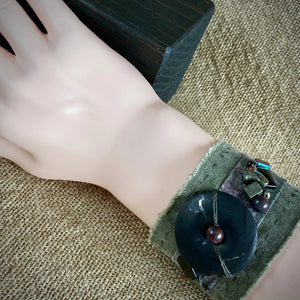 Green Denim Cuff Bracelet, Shungite Donut, Pyrite, Agate, Jasper Beads - Shungite Queen