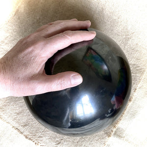 Shungite Sphere, Enormous, 200mm/8 Inches, EMF Protection - Shungite Queen