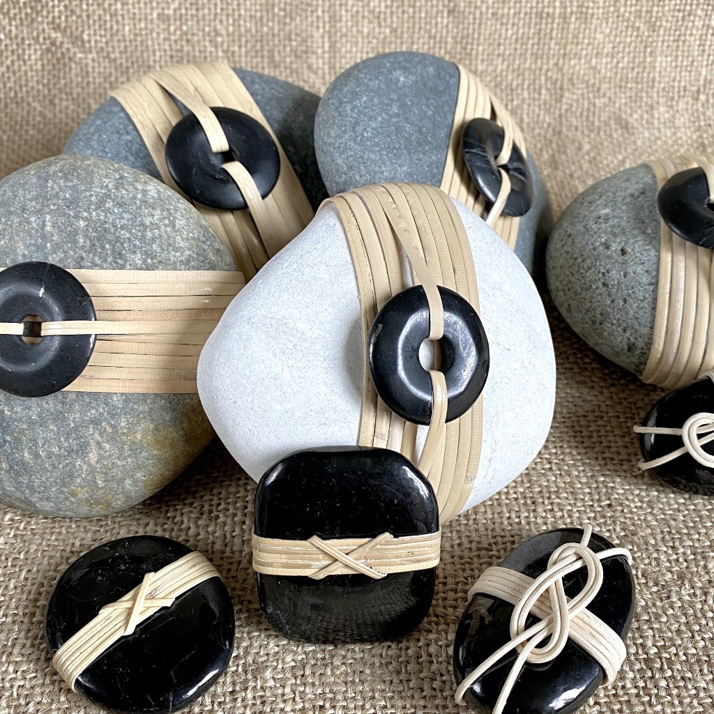 Wrapped Rock, Shungite Donut, Natural Cane, Gray With Brown Spots