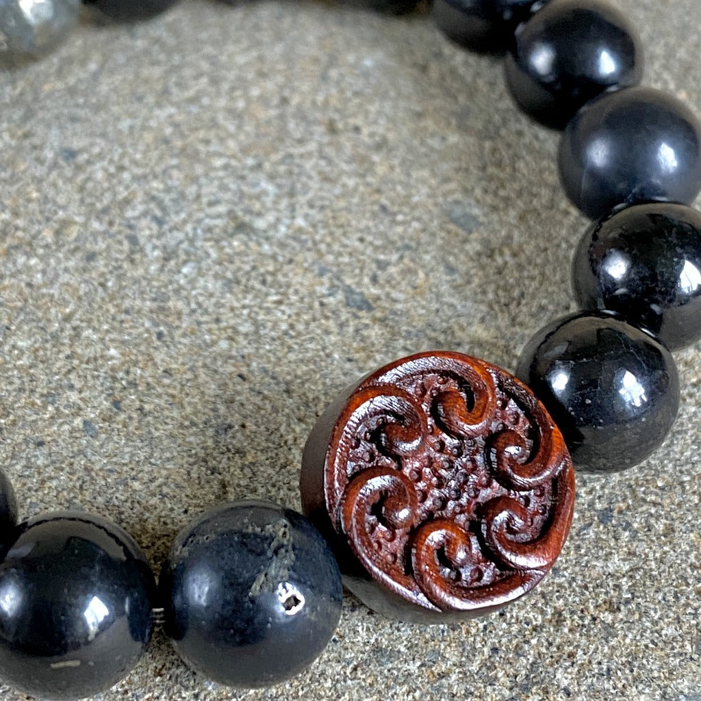 Chunky Shungite Bracelet, Carved Sandalwood Bead, Pyrite, Waves