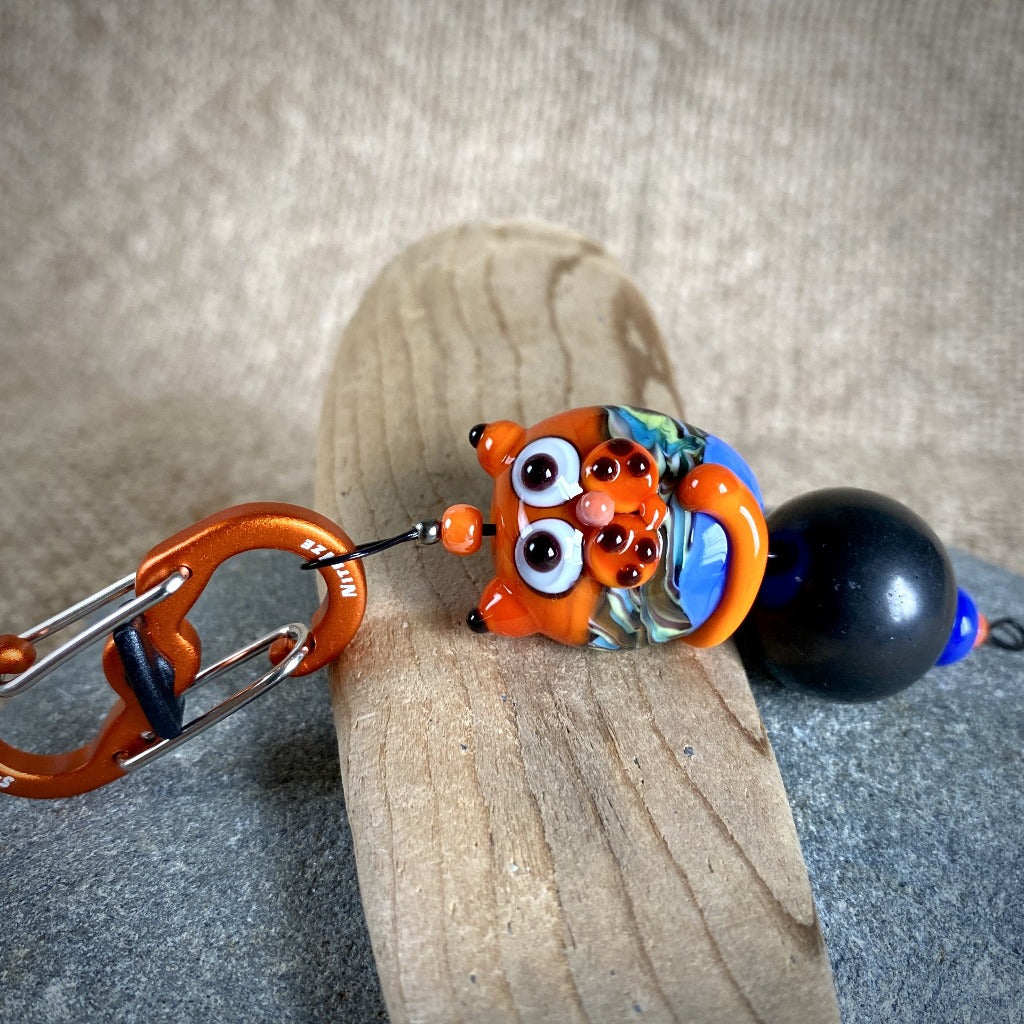 Shungite Cat Clip-On, Orange & Blue, Lampwork Glass, Fun EMF Protection