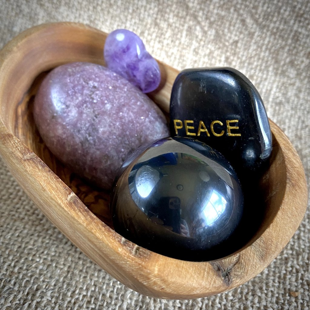 "Shungite, Lepidolite, Amethyst, ""PEACE"" Garden in Rustic Olive Wood Bowl - Shungite Queen"