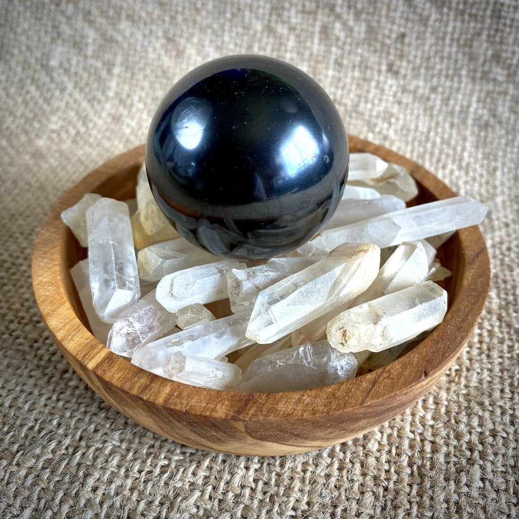 Shungite Sphere on Quartz Crystal Spikes in Olive Wood Bowl, EMF