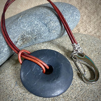 Shungite Pocket Donut w/Red Leather Belt Loop Attachment - Loss Proof!