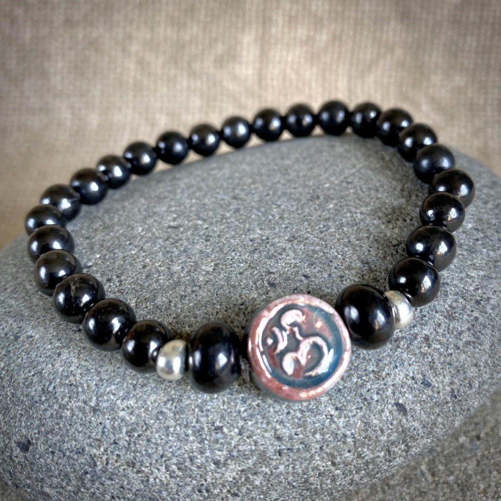 "Shungite ""Om"" Bracelet, Raku Focal Bead, Silver Glass Accent Beads"