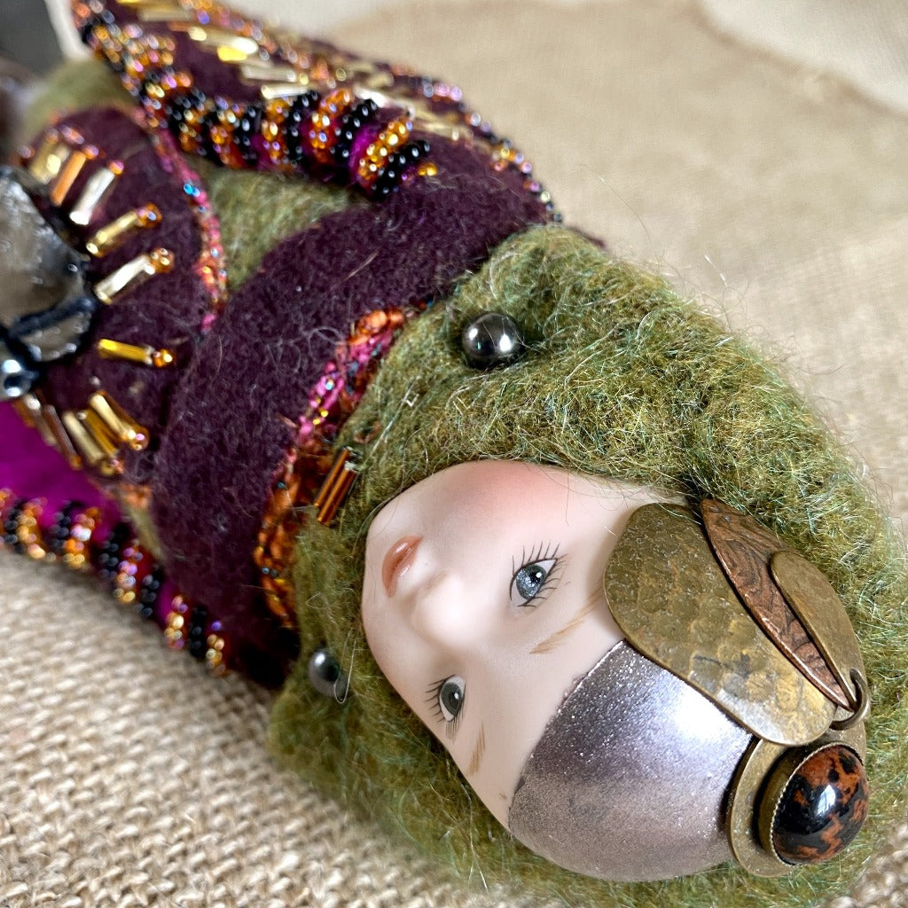 Vintage Shungite Bird Doll, Olive Green & Burgundy, Upcycled Wool, Beaded