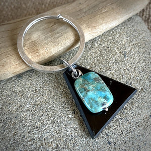 Antique Silver Shungite Keychain, Chrysocolla Bead & Shungite Triangle