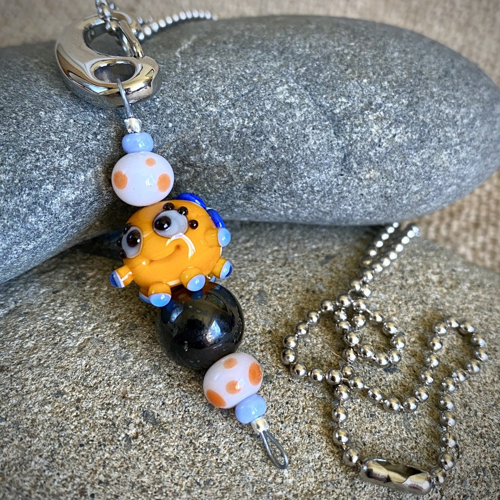 Shungite & Orange Squeedle Necklace & Clip-On, EMF Protection for Kids