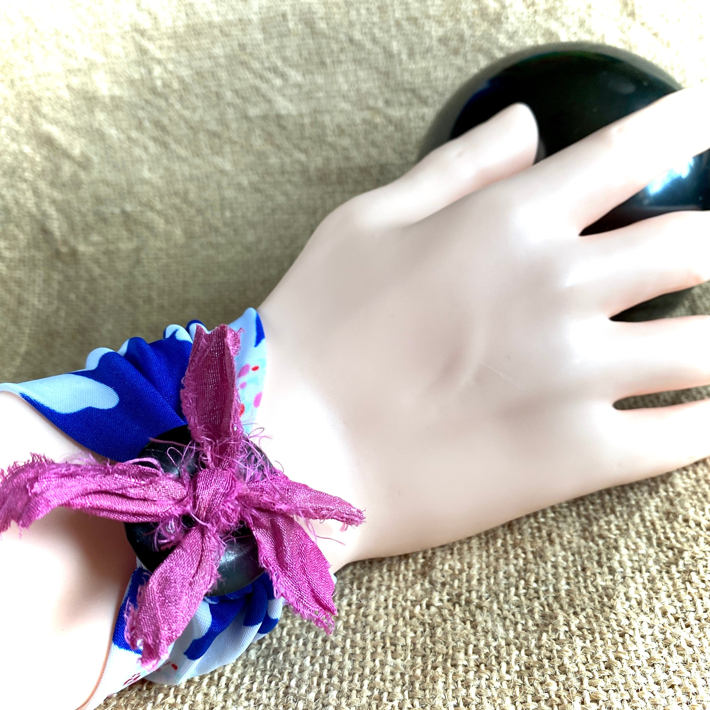 Blue & White Floral Wrist Band, Shungite, Pink Fabric Ties, Tattoo Cover - Shungite Queen