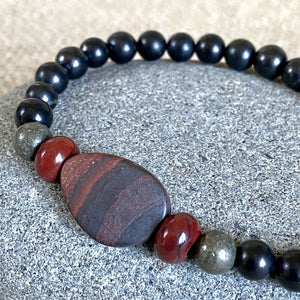 Shungite Bracelet w/Tiger Iron, Red Jasper & Pyrite Beads, Stretchy