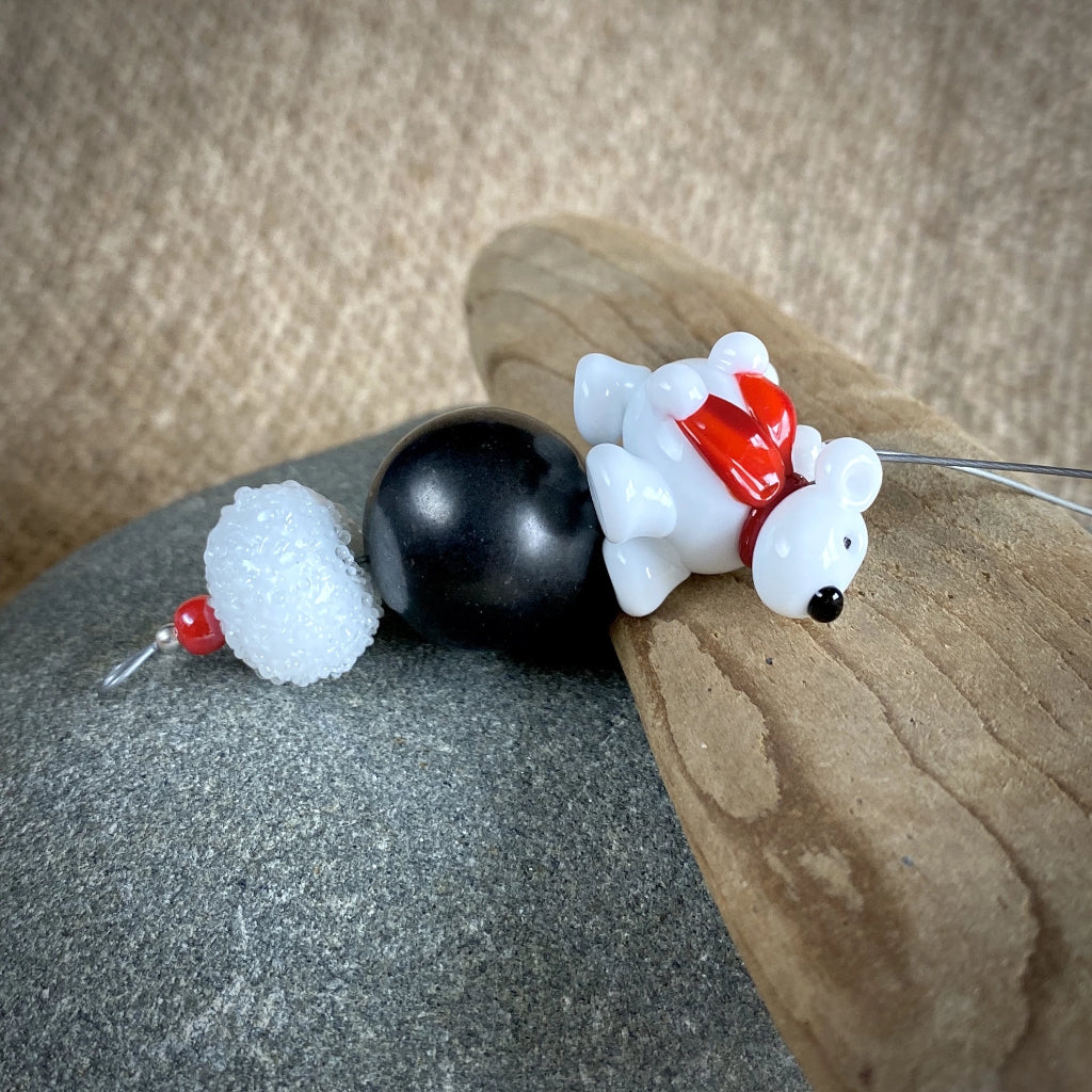 Polar Bear Christmas Ornament w/Shungite, Bright Red Scarf, on Iceberg