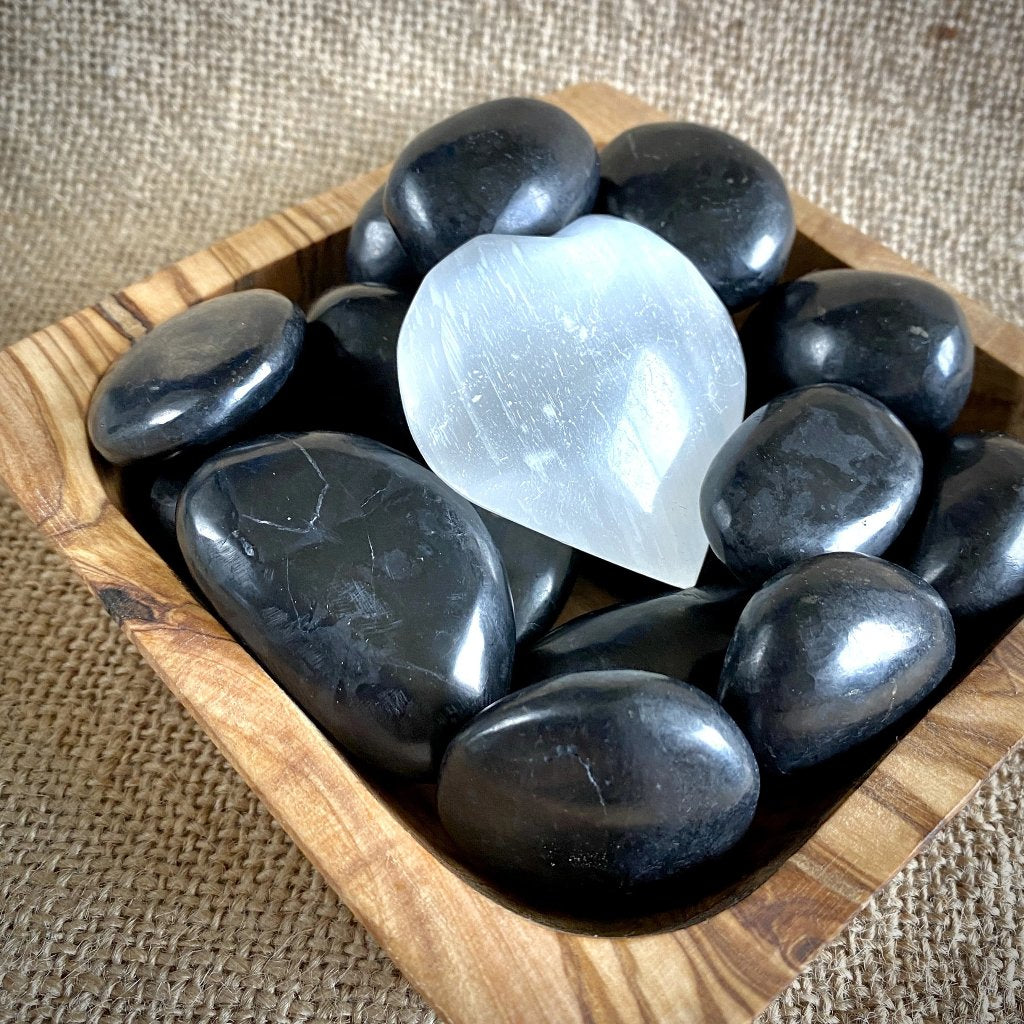 Tumbled Shungite Stones & Selenite Heart in Large Olive Wood Bowl, EMF - Shungite Queen