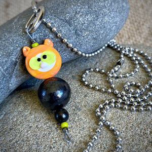 Orange Tabby Cat Shungite Necklace on Ball Chain, EMF Accessory, Kids