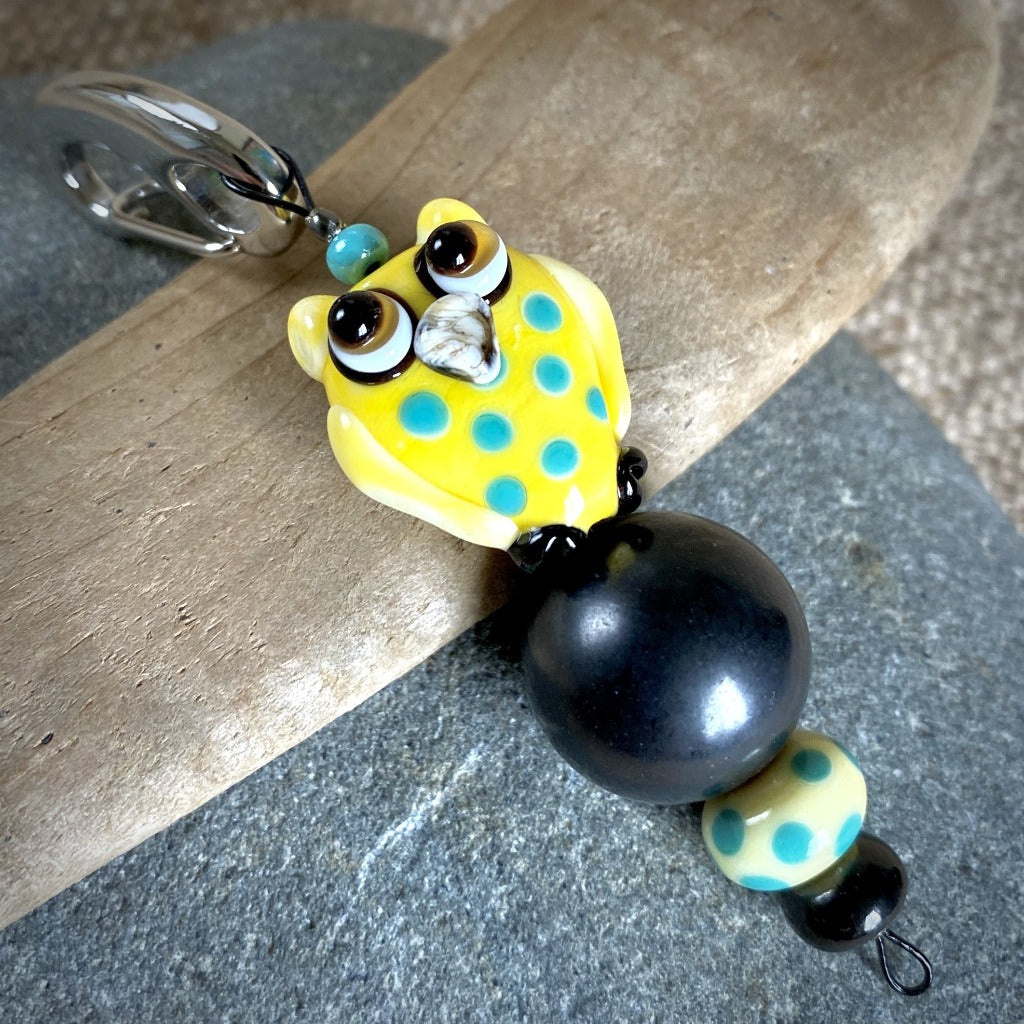 Shungite Owl Clip-on, Yellow & Turquoise, Artisan Lampwork Glass Bead - Shungite Queen