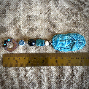 Hangable Shungite Accessory w/Blue Ceramic Dragonfly Fantasy Pendant