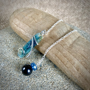 Blue Kyanite Pendulum w/Shungite & Kyanite Beads, Sterling Silver Chain - Shungite Queen