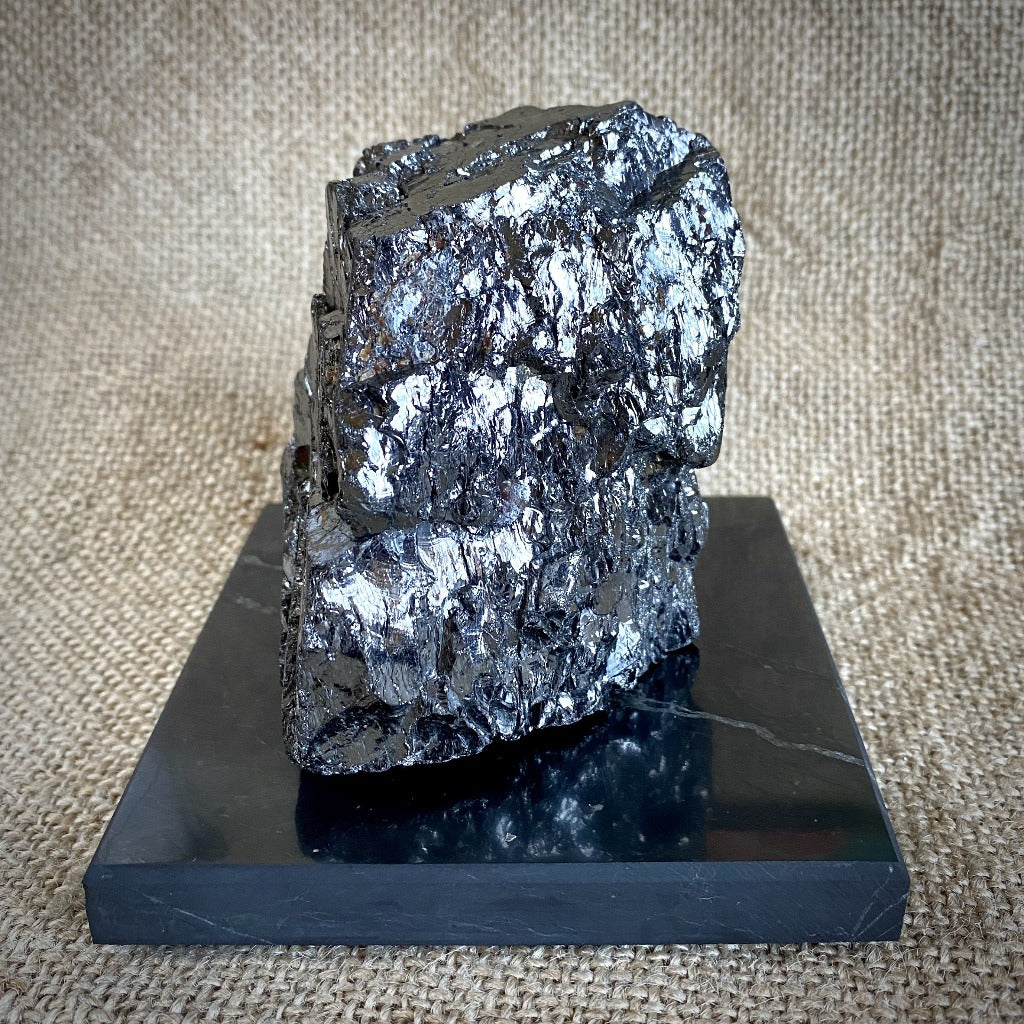 Elite Shungite Nugget, 352g, on Square Polished Black Shungite Tile