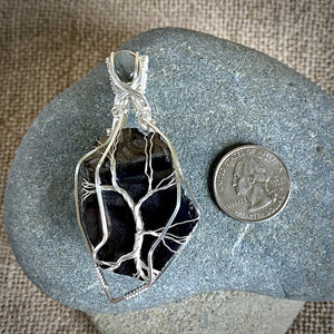 Elite Shungite Pendant, Labradorite, Tree of Life Argentium Silver Setting - Shungite Queen