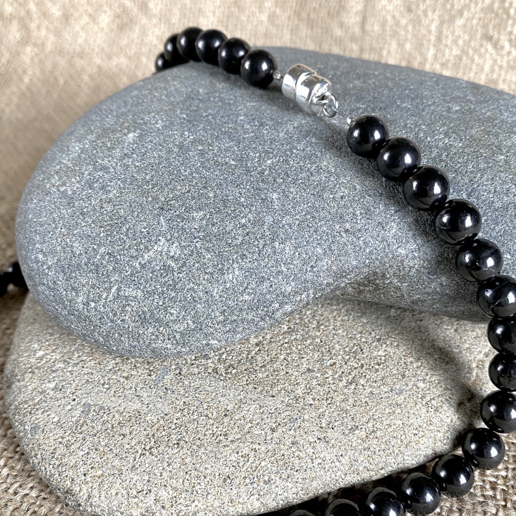 Black Shungite 8mm Round Bead Necklace, 18.5 Inches, EMF Protection