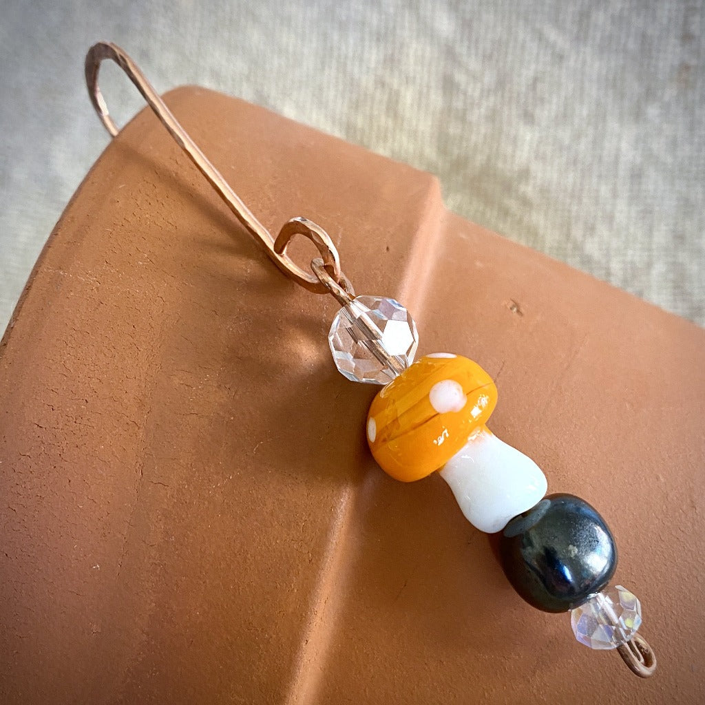 Shungite Bead Garden Dangle, Orange Glass Mushroom, Hammered Copper